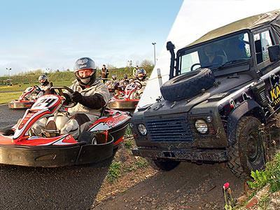 A split image of go karts on an outdoor track and a black land rover driving down a slope