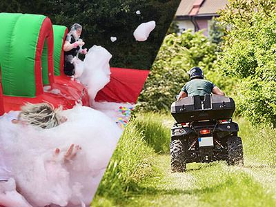 A split image of a woman covered in soap suds and a quad bike being driven down a grass track
