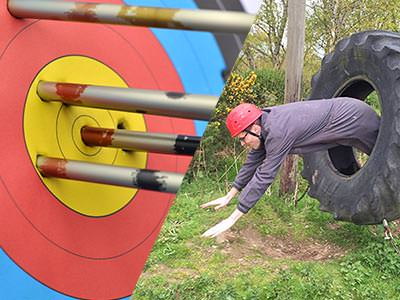 A split image of an archery target with arrows in it and a person jumping through a large tyre