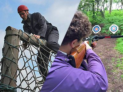 A split image of a man climbing over a net and a person aiming a rifle at a target