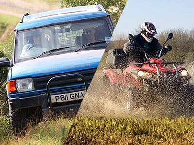 A split image of a Land Rover driving over grass and a quad bike driving through a wet field