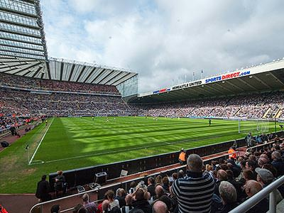 A view of St James' Park pitch and stands from the bottom of the Gallowgate stand