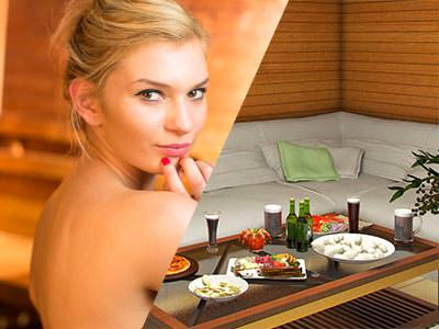 A split image of a topless woman posing and a table of food and drink