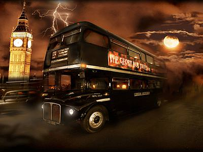A black bus driving through an eerie place at night, with the moon and Big Ben in the background