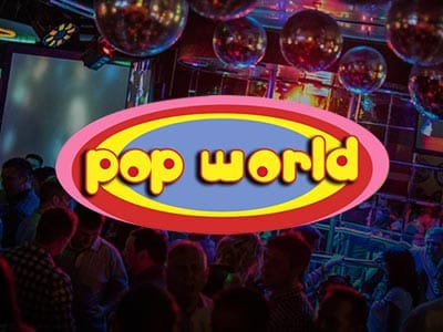 The bar area and empty dancefloor in Pop World