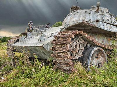 A tank in a field