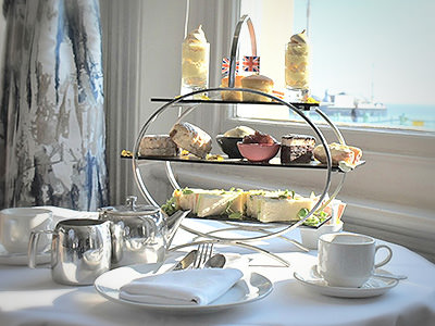 Afternoon tea with delicate nibbles, taken from above