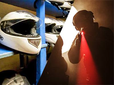 Split image of white kart helmets lined on shelves, and the silhouette of a man aiming a red laser beam with a laser gun
