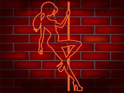 Orange cartoon illustration of a woman pole dancing on red brick
