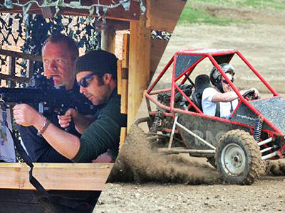 Split image of a man aiming a rifle with an instructor's aid, and a man in a red rage buggy