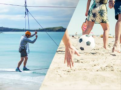 Split image of someone walking a tightwire above the beach, and people playing football on the beach