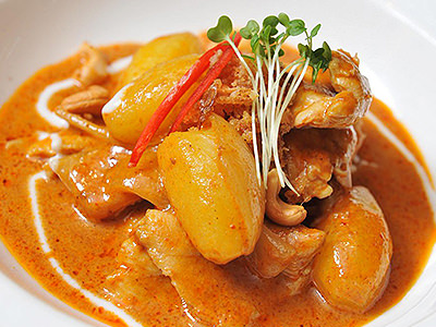 A bright orange Thai curry