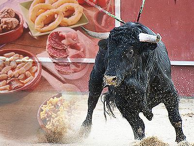 A black bull running over a faded image of Spanish tapas dishes