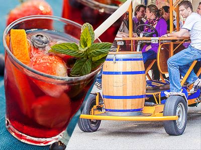 Split image of a glass of sangria, and people on a beer bike in the street