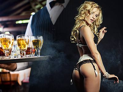 A split image of a man holding at tray of drinks, and the back of a woman posing in her underwear