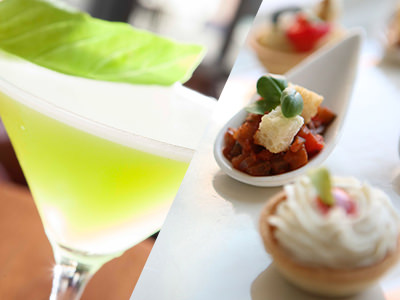 Split image of a green cocktail and canapes