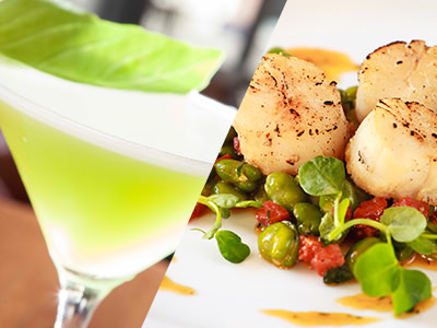 Split image of a green cocktail and scallops on a plate
