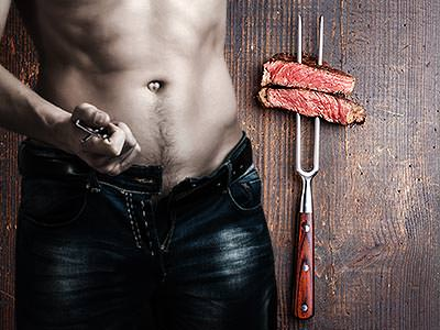 A split image of a man taking his belt off and two pieces of meat on a fork