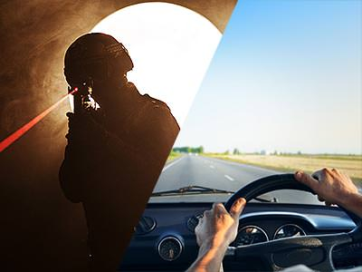 Split image of a man aiming a gun emitting a visible red laser beam past the camera and a two hands holding a steering wheel, driving down an open road
