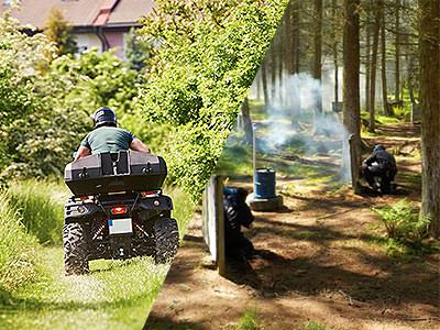 A split image of a quad bike driving down a grass track and a people playing paintball in a forest