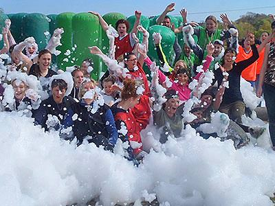 People in foam