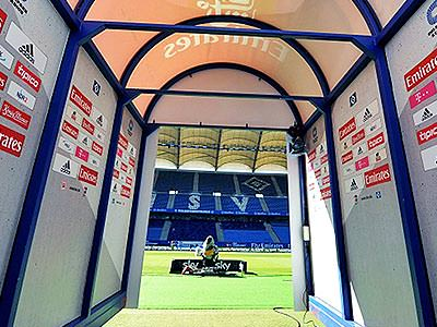 The tunnel to the pitch at Volksparkstadion