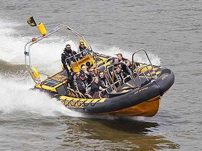 O2 RIB boat travelling along The Thames