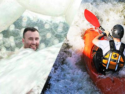 Split image of a man in an aqua zorb, and the back of someone kayaking on a river