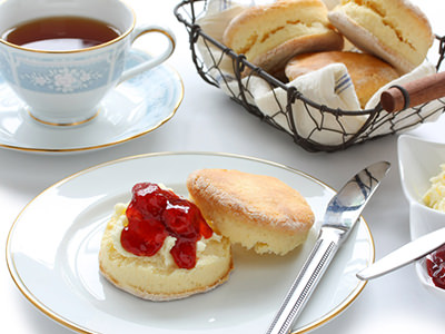 Jam and cream scones and a cup of tea