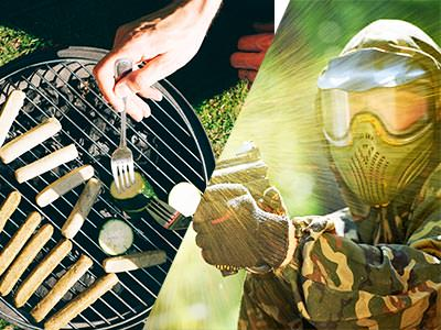 A split image of some meat on a BBQ and a man firing a paintball gun