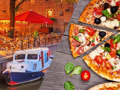 A split image of a boat moored on the canal in Amsterdam and a pizza with a slice being removed