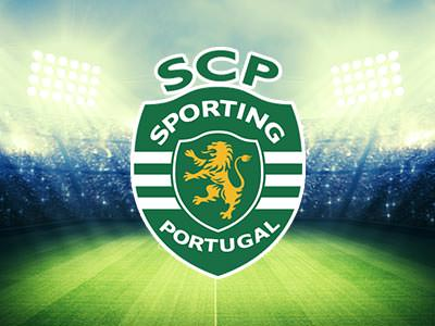 Sporting Lisbon football logo over an image of silhouettes celebrating at a football ground