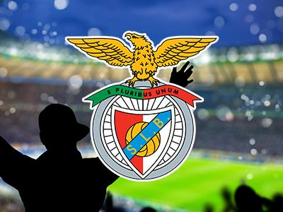 Benfica football logo over a faded image of silhouettes celebrating at a football ground