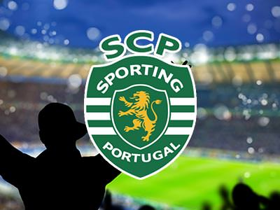 Sporting Lisbon football ticket over an image of silhouettes celebrating at a football ground