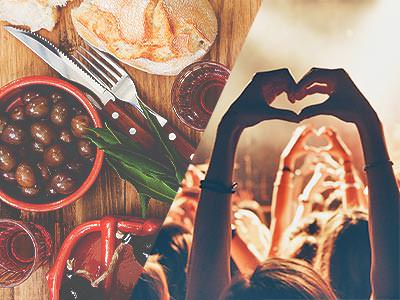 A split image of some tapas style food and some people in a crowd holding their hands into heart shapes