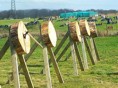 Wood targets in a field, with an axe in one