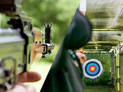 A split image of a view down the side of a Kalashnikov-style rifle and a man aiming a bow and arrow at a target