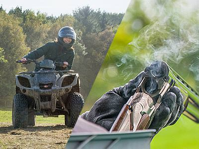 A split image of a person driving a quad bike and an over/under double-barreled shotgun cracked open and smoking