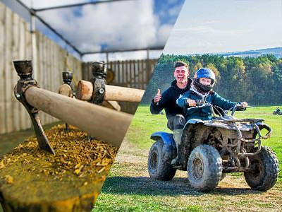 A split image of tomahawks stuck in a log and a quad bike with two riders