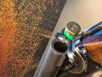 A split image of an orange splatter and a double barreled shotgun cracked open to reveal a green shotgun shell