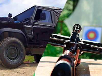 A split image of a 4x4 vehicle and a crossbow