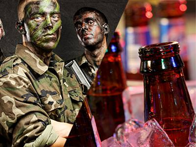 Split image of two men in camouflage gear and paint, and the top of two beer bottles