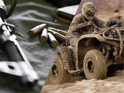 A split image of a gun and some bullets lying on a grey cloth, and a quad bike driving through mud