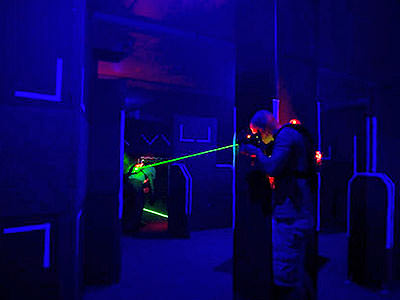 A man playing laser quest