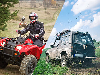 A split image of a person quad biking through countryside and a 4x4 jeep driving through mud