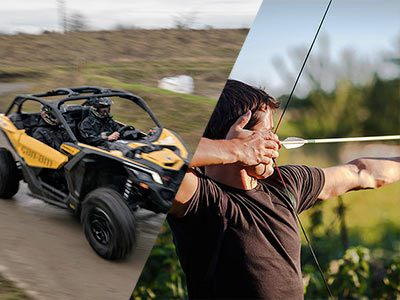 A split image of an off-road buggy driving down a muddy track and a man aiming a bow and arrow