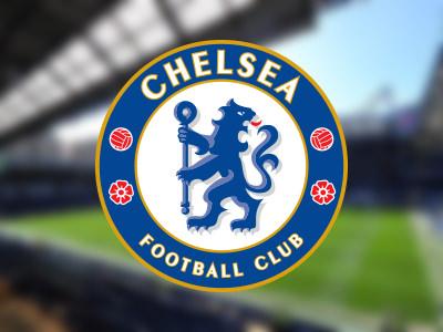 Stamford Bridge blurred with Chelsea logo