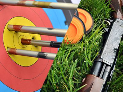 A split image of an archery target with arrows in and a shotgun lying on grass next to orange clays