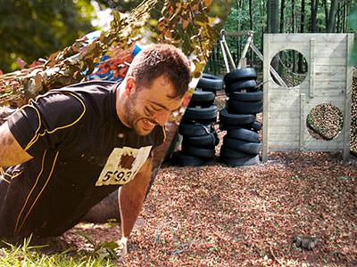 A split image of a man on the ground and an assault course