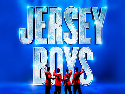 'Jersey Boys' in glitter text